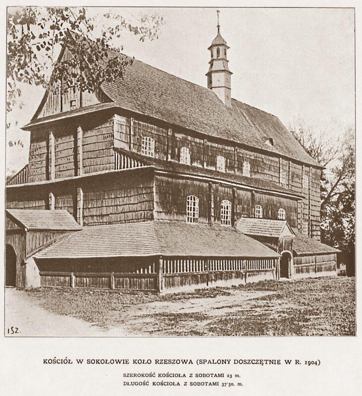 Kościół farny w Sokołowie Małopolskim. Spalony w 1904 roku